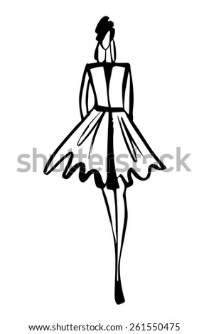Fashion Model Silhouette Hand Drawn Sketch Stock Vector ...