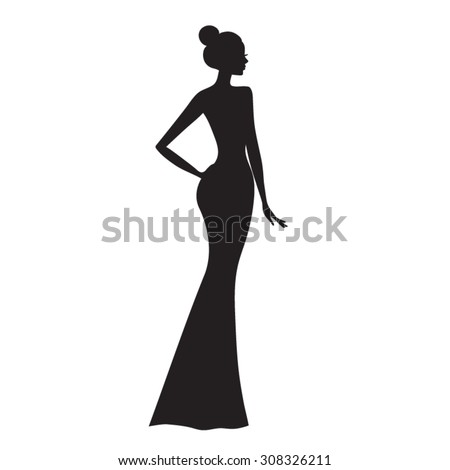 Fashion model .  Silhouette of beautiful woman vector illustration. - stock vector