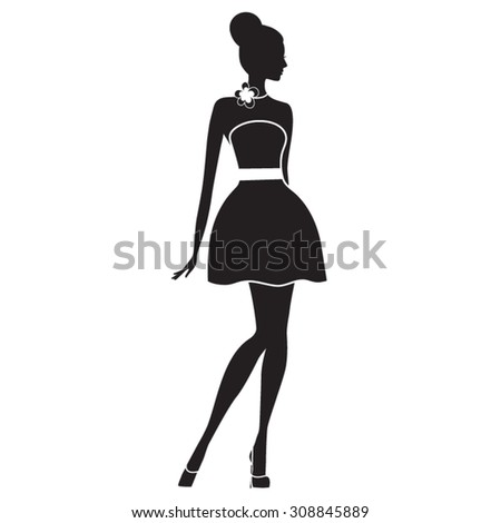 Fashion model. Silhouette of beautiful woman vector illustration. - stock vector