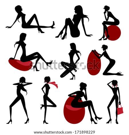 Fashion model silhouette set - stock vector