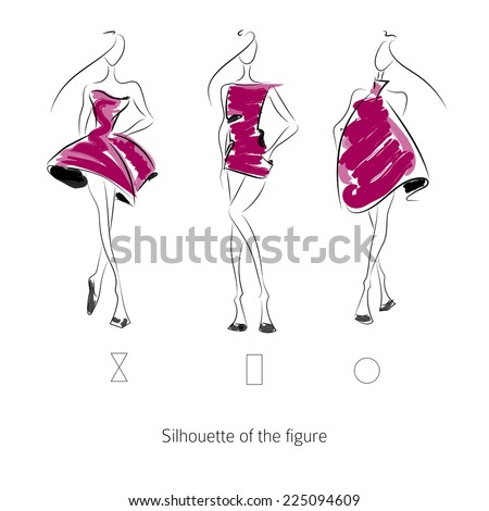 Fashion model. Sketch silhouette figure. Vector draw model. Vector fashion style. Color dress. Fashion clothing. - stock vector