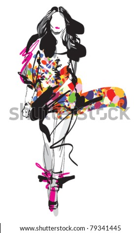 Fashion model. Sketch. Vector illustration - stock vector