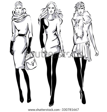fashion models sketch style fall winter stock vector