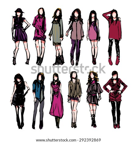 fashion models rough sketch - stock vector