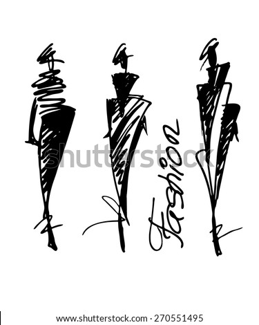 Fashion models sketch hand drawn , vector illustration - stock vector