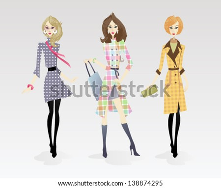 Fashion Models: The vector illustration of the Supermodels presenting Trends in Fashion - stock vector