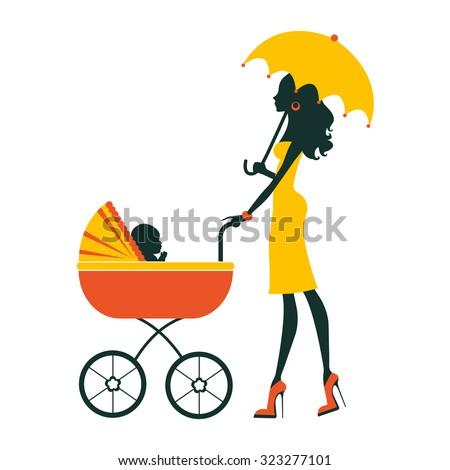 Fashion mom with baby in pram under umbrella. Vector illustration - stock vector