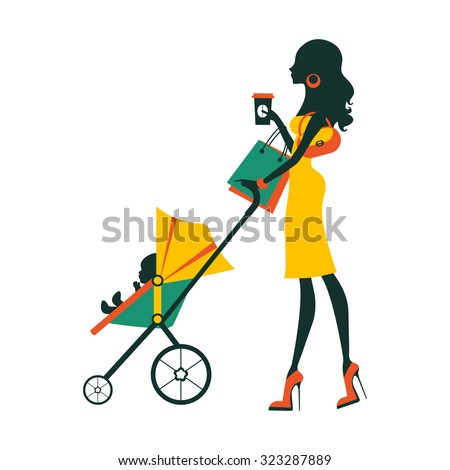 Fashion mom with baby in pram under umbrella. Vector illustration - stock vector