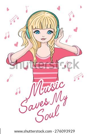 fashion music illustration girl/illustration girl listening to music/girl vector/girl pattern/girl graphic/girl illustration/T-shirt Graphics/cute girl illustration/Fashion girl/cute girl illustration - stock vector