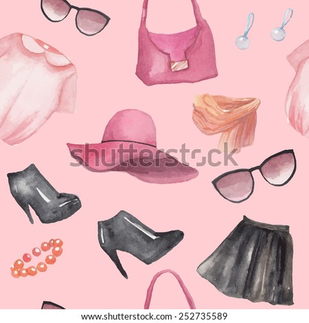 Fashion objects seamless pattern. Hand drawn watercolor clothing and accessories: leather skirt, blouse, hat, bracelet, earrings, scarf, bag, sunglasses, boots. Vector girly texture - stock vector