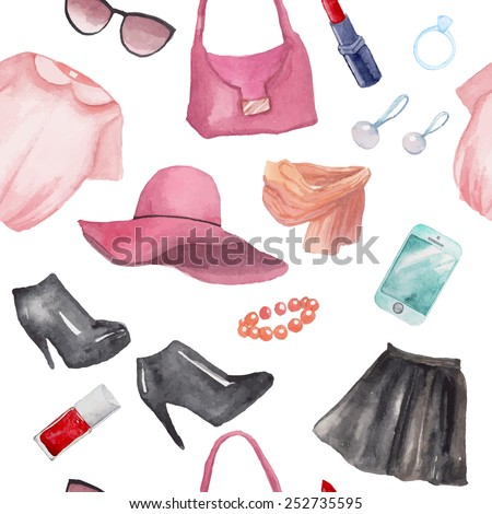Fashion objects seamless pattern. Hand drawn watercolor clothing, cosmethics and accessories: leather skirt, blouse, hat, bracelet, earrings, scarf, bag, sunglasses, boots, lipstick. - stock vector