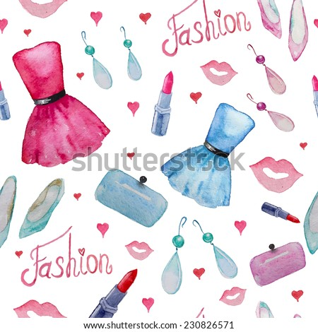 Fashion objects seamless pattern. Hand drawn watercolor party dress, earings, lipstick, clutch, shoes, kisses and hearts. - stock vector
