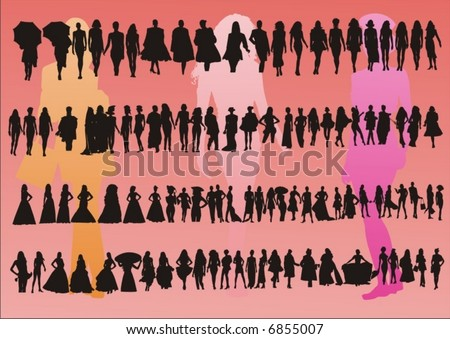 fashion parade - stock vector