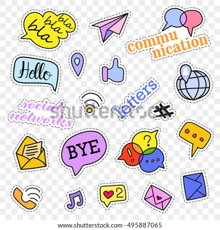 Fashion patch badges.Social networks set.Stickers,pins,patches and handwritten notes collection in cartoon 80s-90s comic style.Vector illustration isolated on transparent background.Vector clip art.