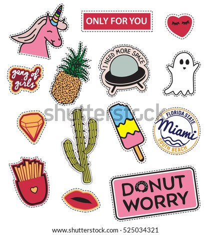 Fashion patch badges unicorn, lips, hearts, cactus, girl gang, ice cream, ghost, spaceship,  Vector illustration isolated on white background. Set of stickers, pins, patches in cartoon comic style.
