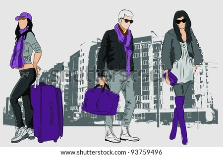 Fashion people with bags on urban background - stock vector