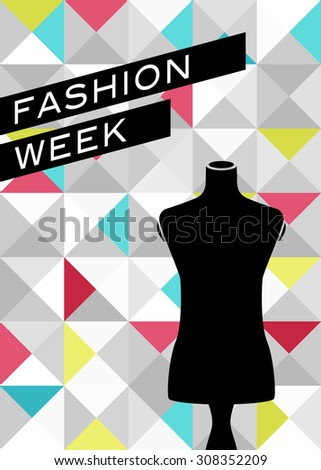 Fashion poster with mannequin silhouette - stock vector