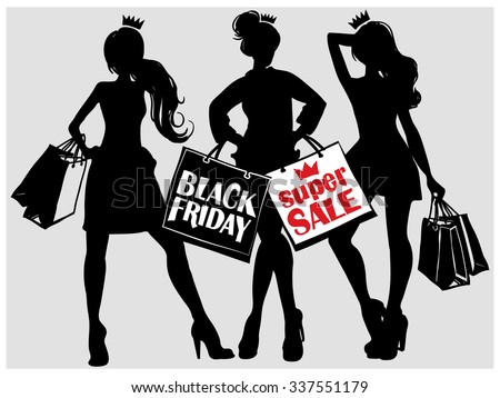Fashion promo ladies with shopping bags, black Friday sale stuff. Contrasty glamour fashion decorative element. Fashion sketch and illustration. - stock vector