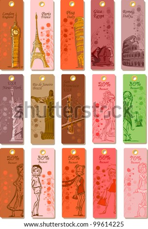 Fashion's labels for travel around the world , the vector - stock vector