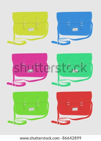 Fashion / School satchel set 2 - bright colours