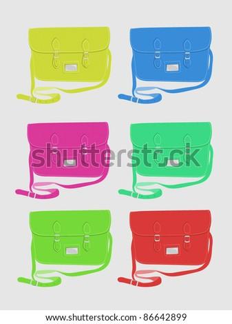 Fashion / School satchel set 2 - bright colours - stock vector