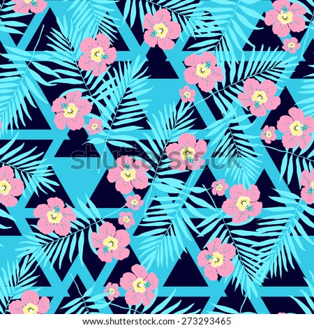 Fashion seamless nature exotic pattern with tropical palm leaves and flowers.Modern Jungle summer floral ornament on black  background . - stock vector