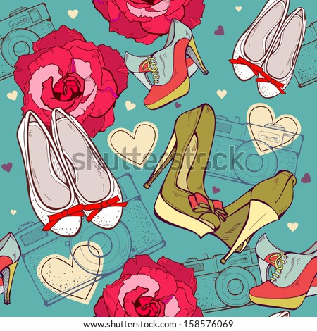 Fashion seamless of shoes and flowers - stock vector