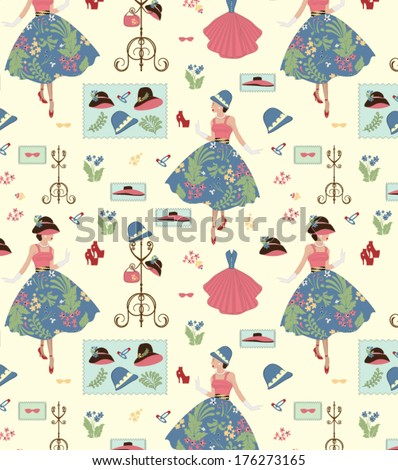 Fashion seamless pattern - stock vector