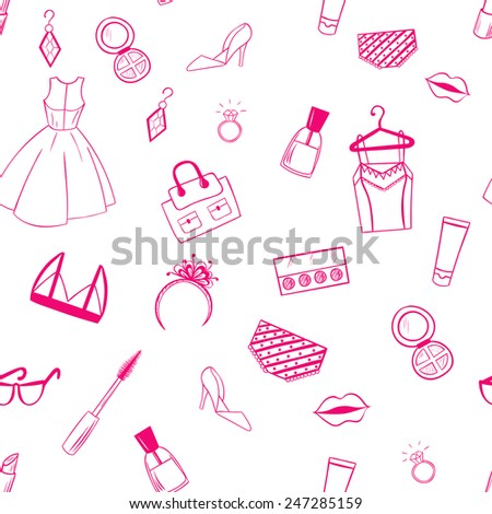 Fashion seamless pattern. Dress, earrings, lipstick illustration.