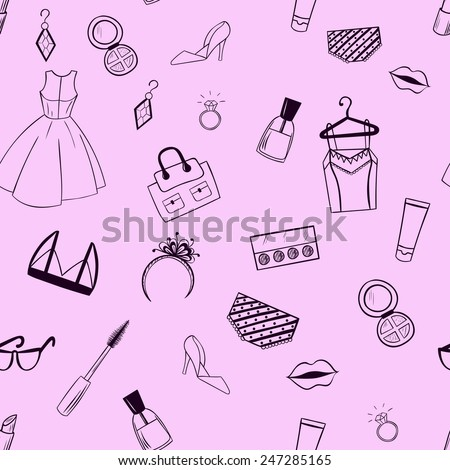 Fashion seamless pattern. Dress, earrings, ring, cosmetics, shoes, underwear, ink, shadows, lipstick illustration.