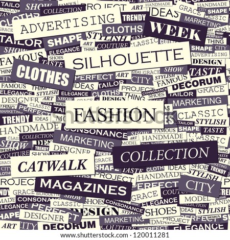 FASHION. Seamless vector pattern. Word collage. Vector illustration. - stock vector