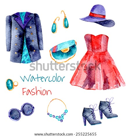 Fashion set. Hand drawn watercolor clothes: dress, hat, jacket, earrings, bag, sunglasses, boots, ring, necklace. Vector illustration.  - stock vector