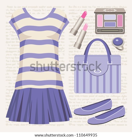 Fashion set with a top and a skirt. vector