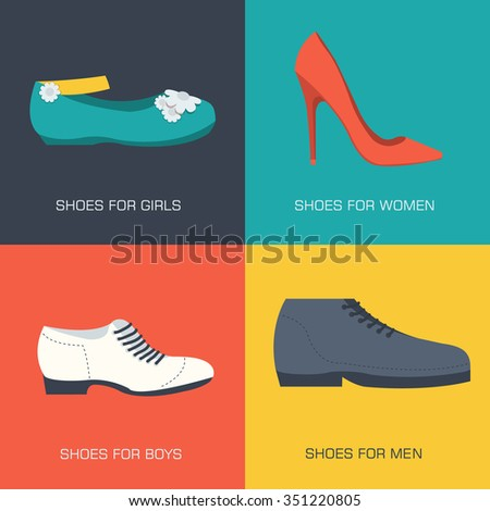 fashion shoes for family on flat style. Vector illustration concept banners. Template for website and mobile appliance - stock vector