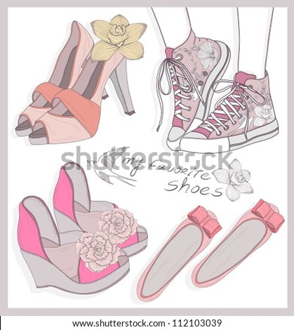 Fashion shoes set - stock vector