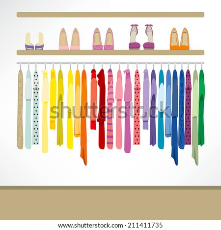 Fashion shop background with clothing on hangers, shirts, dresses and shoes - stock vector