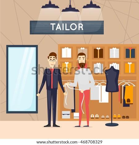 Fashion Shop Man Tailor Interior Flat Design Vector Illustrations