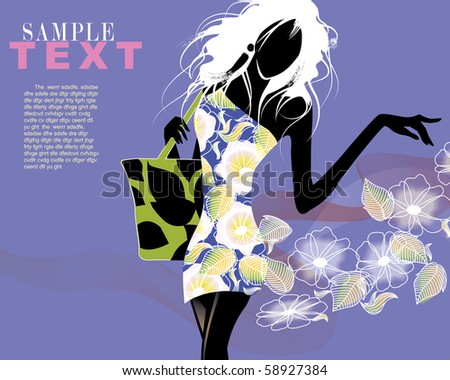 Fashion shopping female - stock vector