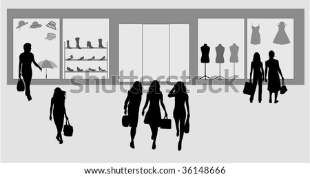 Fashion shopping girl - stock vector