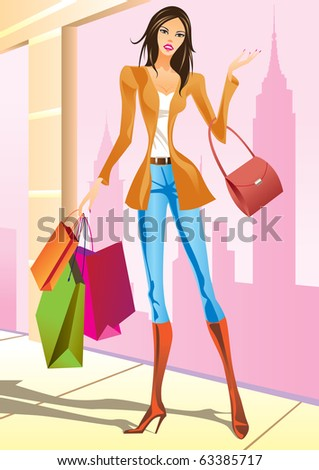fashion shopping girls with shopping bag in New York - vector illustration - stock vector