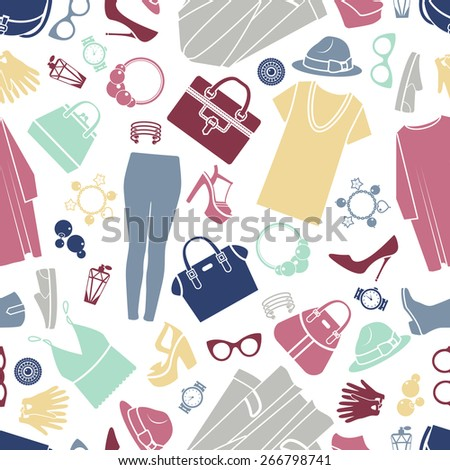 Fashion shopping icons vector background. Seamless pattern, design illustration, silhouette accessories - stock vector