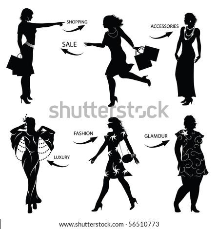 Fashion shopping woman silhouettes - stock vector