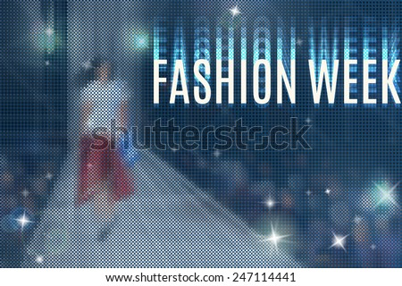 fashion show abstract vector background with models walking on podium