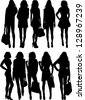 fashion silhouette - stock photo