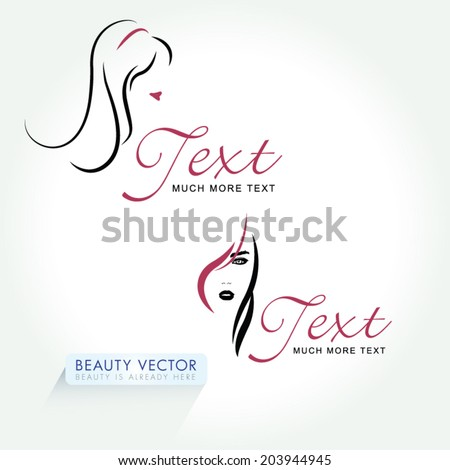Fashion silhouette woman style, vector illustration. Beauty Icon set logo template for Beauty Industry, Hair Salon, Beauty Salon, Styling, Spa Boutique, Cosmetic procedures, Cosmetic labeling - stock vector