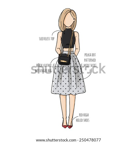 Fashion Sketch Drawing Girls Beautiful Looks Stock Vector 250478077 - Shutterstock