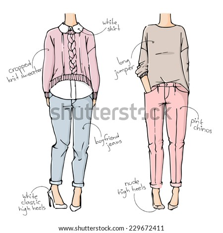 fashion sketch drawing girls in beautiful looks. Hand drawn set of fashion outfits.  - stock vector