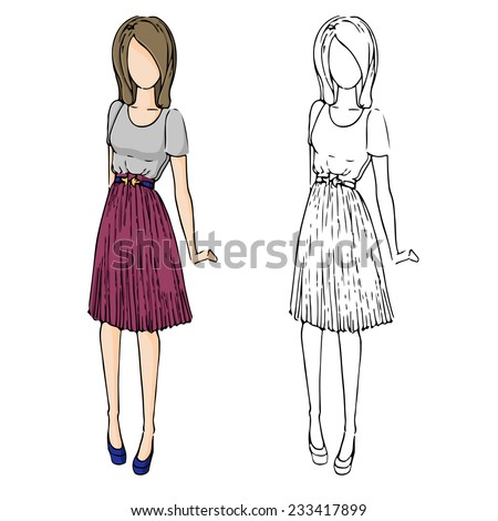 fashion sketch drawing girls in beautiful looks. Hand drawn set of fashion outfits. Illustration with colored girl and contour girl. Pretty girl in pleated skirt. - stock vector