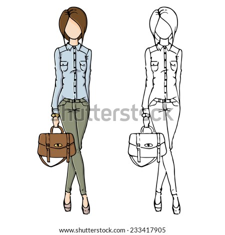 fashion sketch drawing girls in beautiful looks. Hand drawn set of fashion outfits. Illustration with colored girl and contour girl. - stock vector