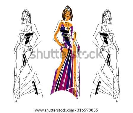 Fashion Sketch Poses - stock vector